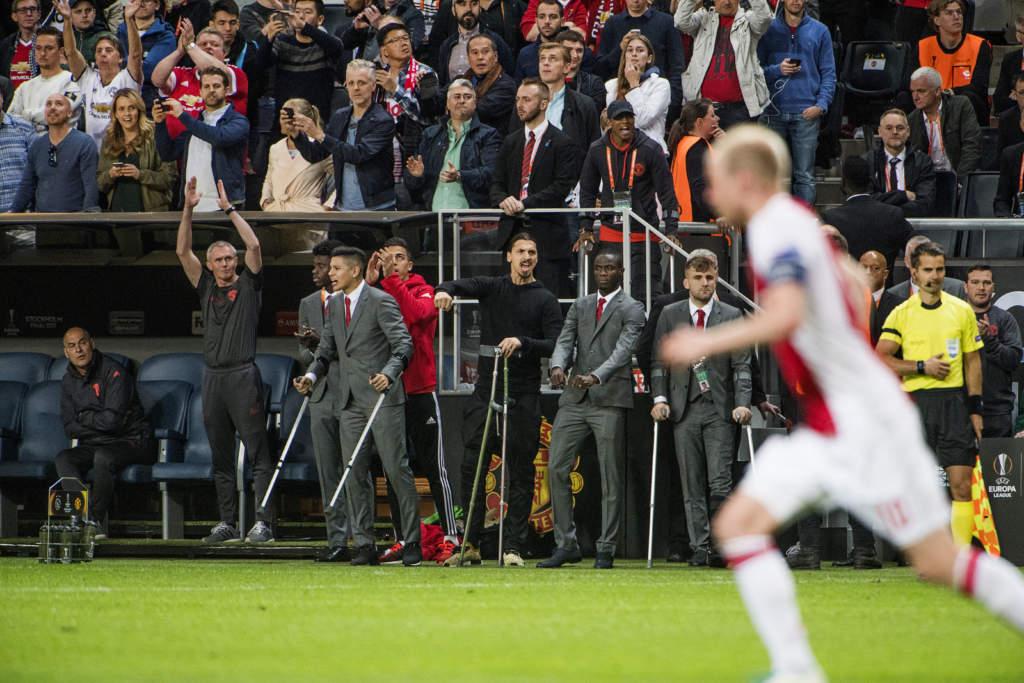 uefa europa league. final, afc ajax - manchester united, 0 - 2, zlatan ibrahimovic, fotbollsspelare sverige manchester, match action skadad