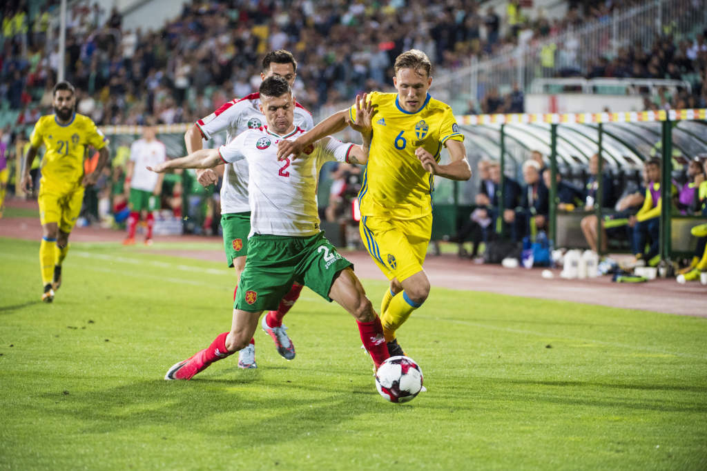 vm-kval, bulgarien - sverige, 3 - 2, ludwig augustinsson, fotbollsspelare sverige, match action landslaget
